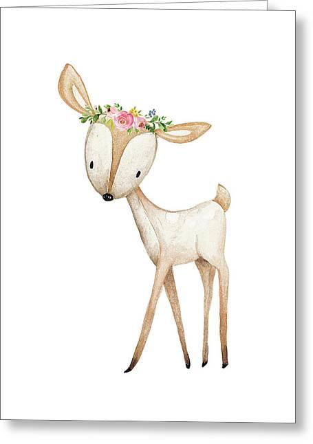 Boho Woodland Baby Nursery Deer Floral Watercolor Greeting Card