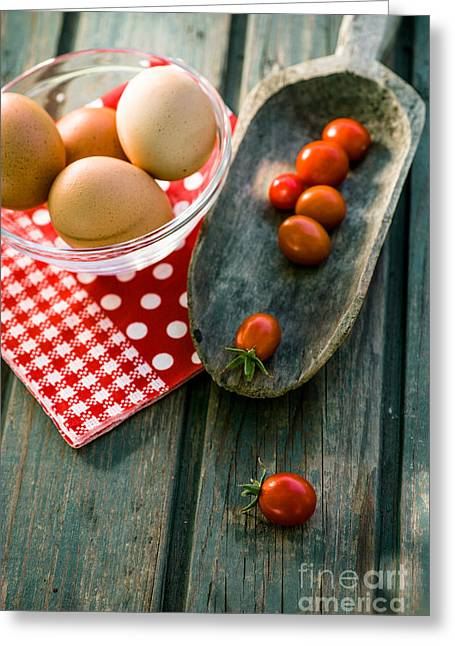 Bolied Eggs On Wood Greeting Card by Mythja Photography