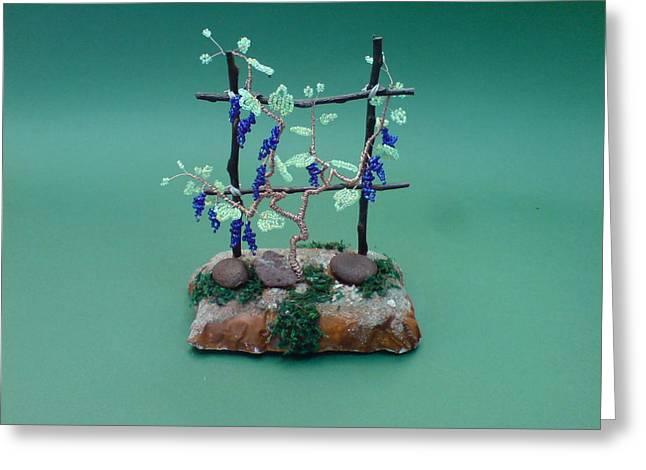 Bonsai Wire Tree Sculpture Beaded Vineyard      Greeting Card