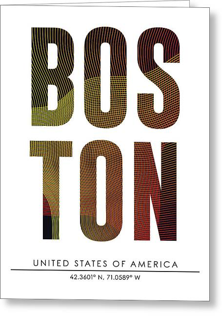 Boston City Print With Coordinates Greeting Card