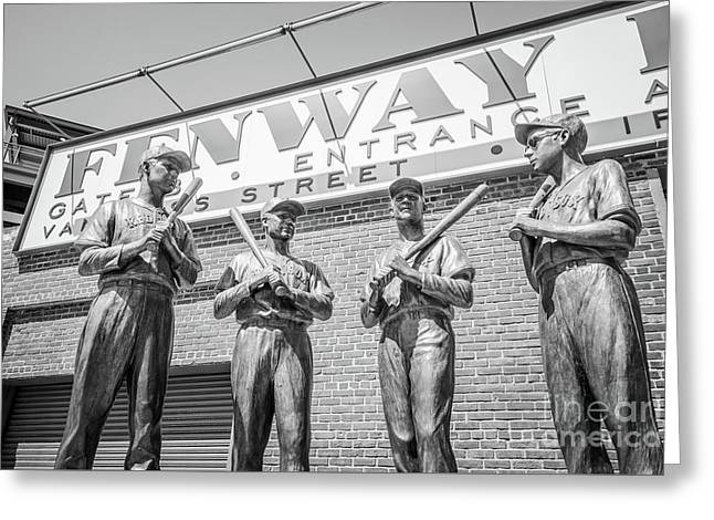 Boston Fenway Park Sign And Four Bronze Statues Greeting Card