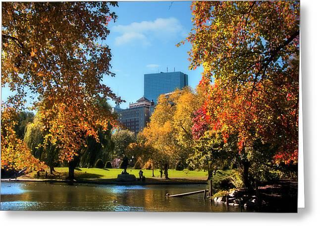 Boston Public Garden In Autumn Greeting Card by Joann Vitali