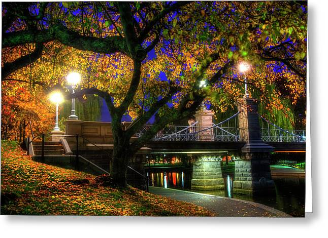 Boston Public Garden Lagoon Bridge In Autumn Greeting Card