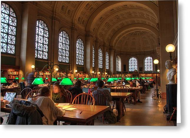 Greeting Card featuring the photograph Boston Public Library by Joann Vitali