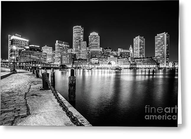 Boston Skyline At Night Black And White Photo Greeting Card