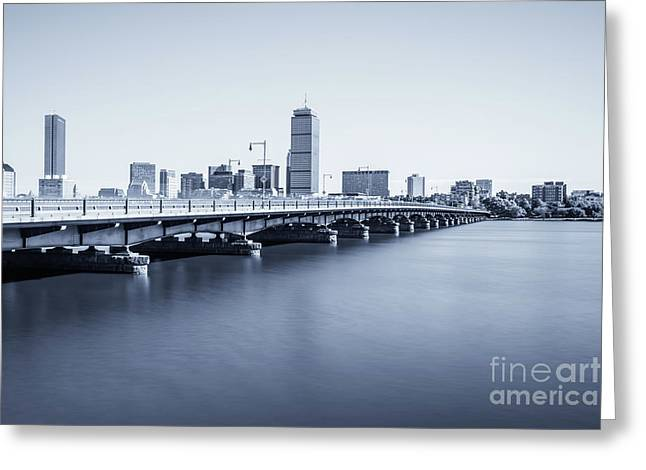 Boston Skyline Harvard Bridge Back Bay Photo Greeting Card by Paul Velgos