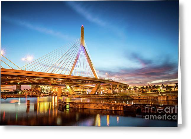 Boston Zakim Bridge At Night Photo Greeting Card by Paul Velgos