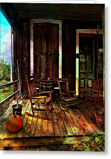 The Country Store Porch Greeting Card by Julie Dant