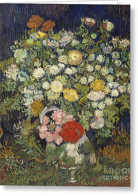 Bouquet Of Flowers In A Vase, 1890 Greeting Card by Vincent Van Gogh