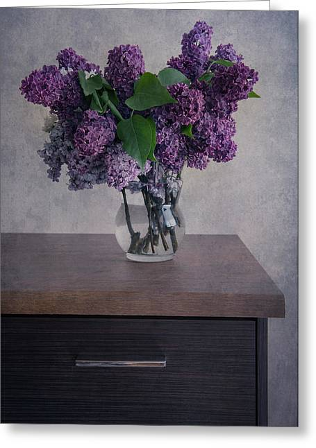 Greeting Card featuring the photograph Bouquet Of Fresh Lilacs by Jaroslaw Blaminsky