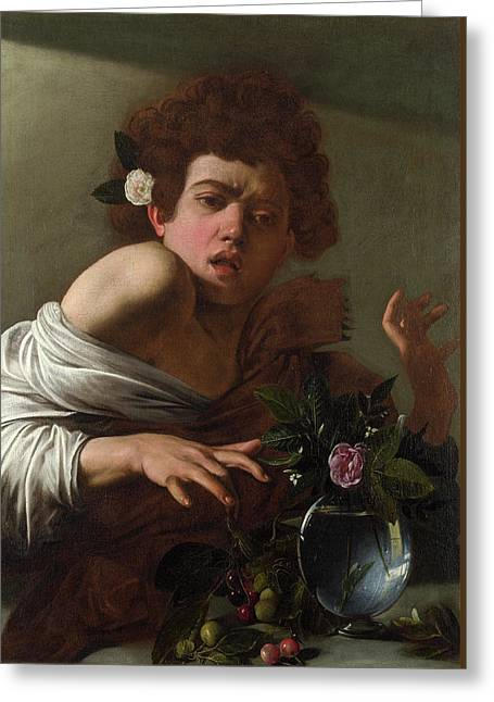 Boy Bitten By A Lizard Greeting Card by Caravaggio