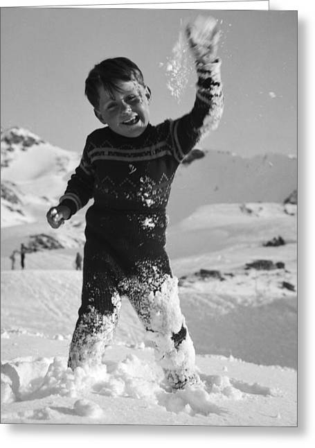 Boy Throwing A Snowball Greeting Card