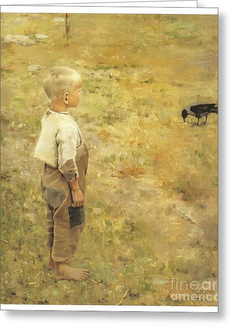 Boy With A Crow Greeting Card by Akseli Gallen-Kallela