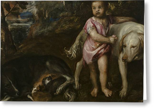 Boy With Dogs In A Landscape Greeting Card