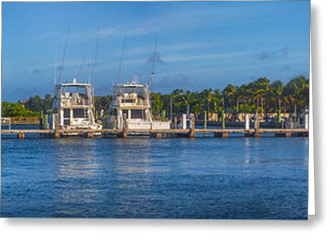 Boynton Beach Inlet Harbor Panorama Greeting Card by Debra and Dave Vanderlaan