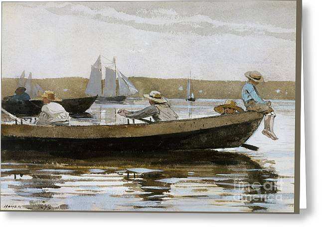Boys In A Dory, 1873  Greeting Card by Winslow Homer