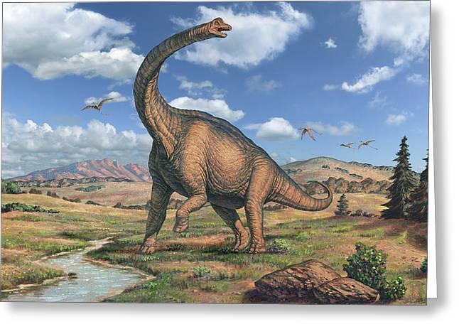 Brachiosaurus Dinosaur Greeting Card by Joe Tucciarone