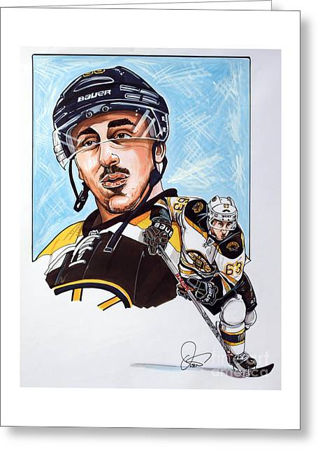 Brad Marchand Greeting Card by Dave Olsen