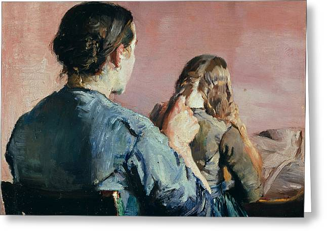 Braiding Her Hair Greeting Card by Christian Krohg