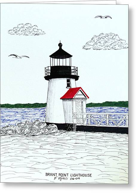 Brant Point Lighthouse Greeting Card by Frederic Kohli