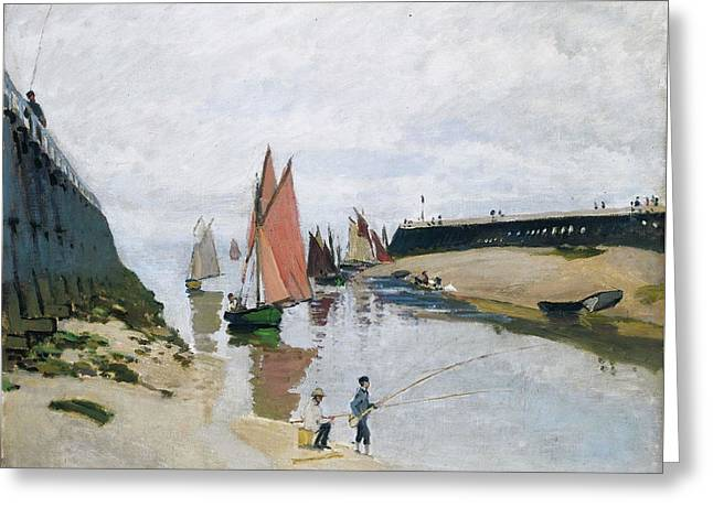 Breakwater At Trouville, Low Tide Greeting Card by Claude Monet
