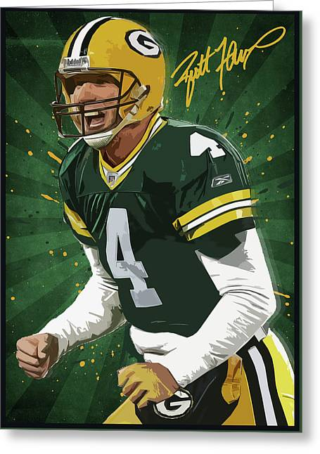 Brett Favre Greeting Card by Semih Yurdabak