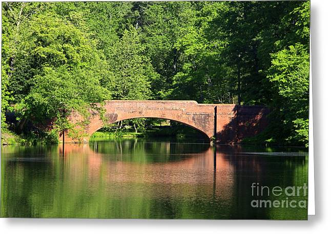 Bridge Reflection In The Spring Greeting Card