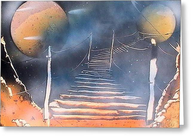Bridge To Space Greeting Card by My Imagination Gallery