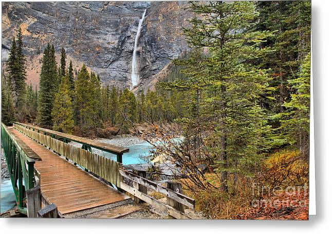 Greeting Card featuring the photograph Wooden Bridge To Takakkaw Falls by Adam Jewell