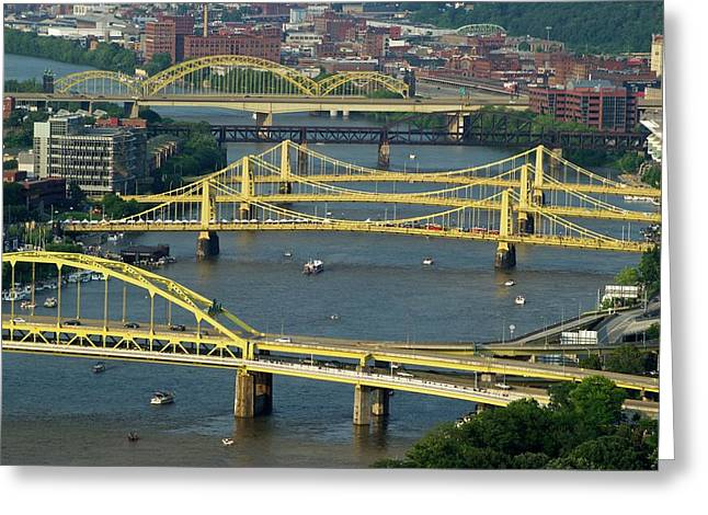 Bridges Of Pittsburgh Greeting Card by Frozen in Time Fine Art Photography