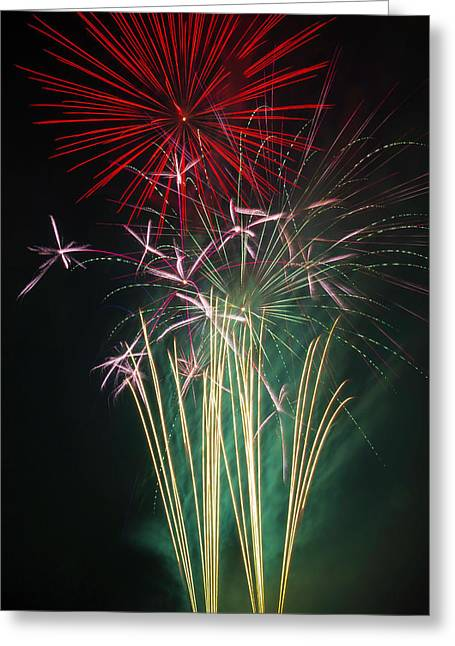 Bright Colorful Fireworks Greeting Card by Garry Gay