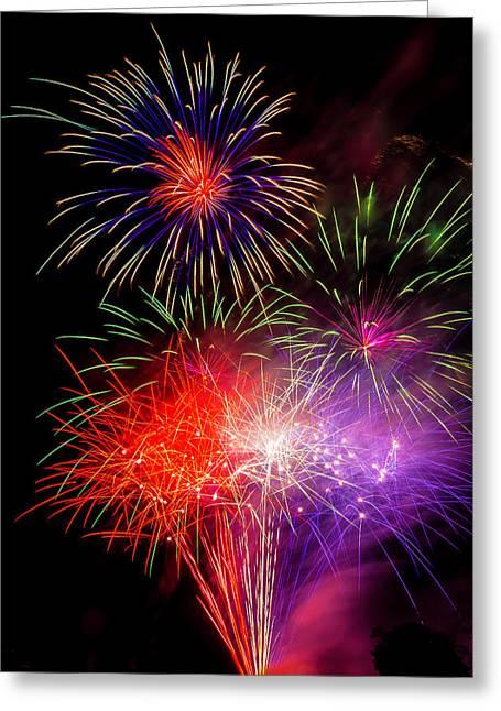 Bright Fireworks Greeting Card