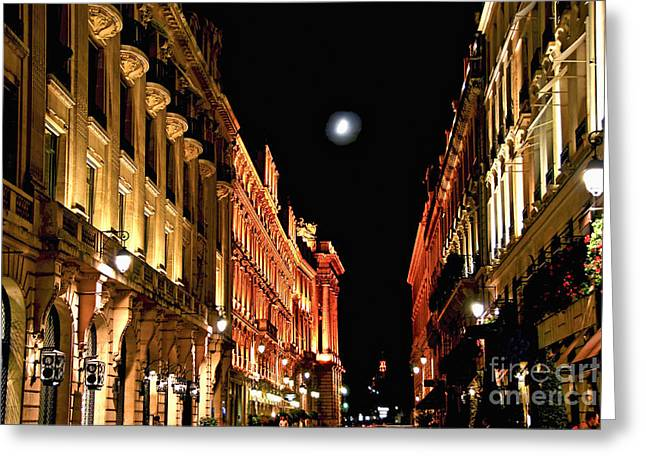Night Cafe Greeting Cards - Bright moon in Paris Greeting Card by Elena Elisseeva