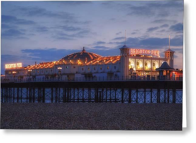Brighton At Night Greeting Card by Joana Kruse
