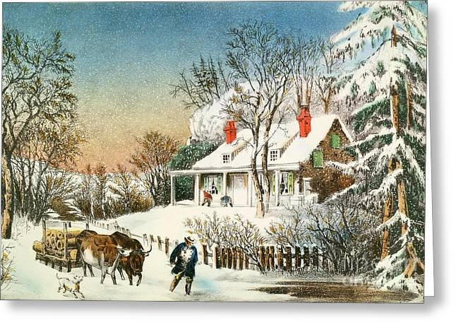 Slush Greeting Cards - Bringing Home the Logs Greeting Card by Currier and Ives