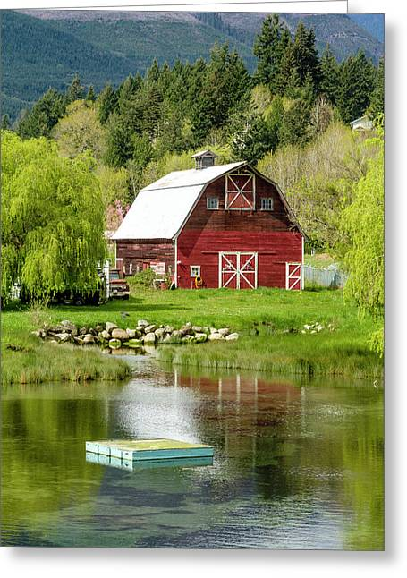 Brinnon Washington Barn Greeting Card by Teri Virbickis