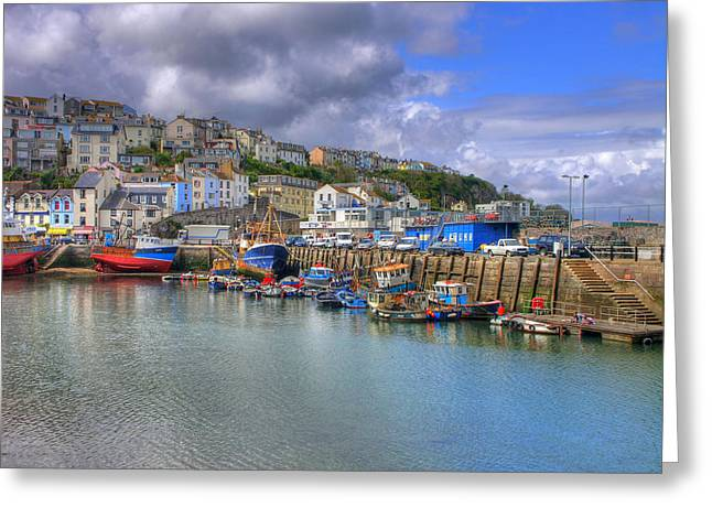 Blue Sailboat Greeting Cards - Brixham Harbour Greeting Card by Mike Lester