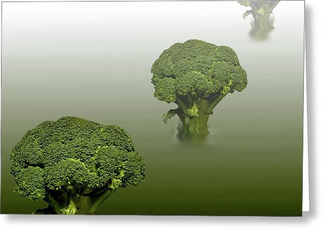 Broccoli Green Veg Greeting Card by David French