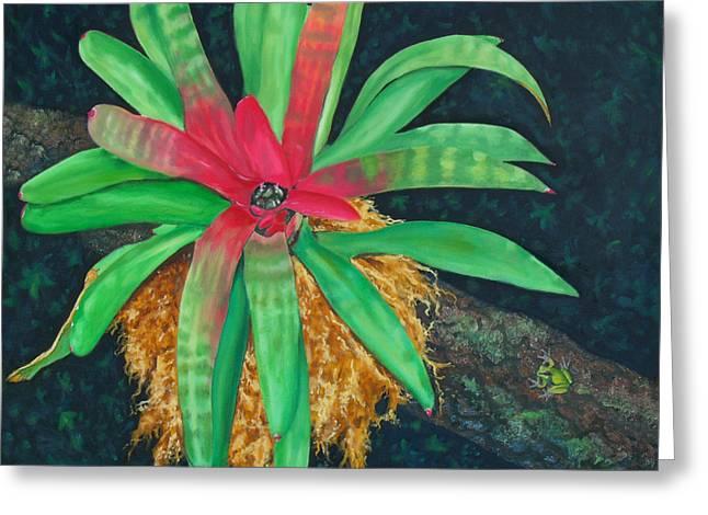 Epiphytic Bromeliads Greeting Cards - Bromeliad Greeting Card by Charles Yates