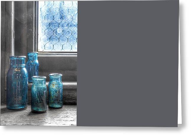 Bromo Seltzer Vintage Glass Bottles  Greeting Card by Marianna Mills