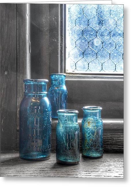 Bromo Seltzer Vintage Glass Bottles Greeting Card