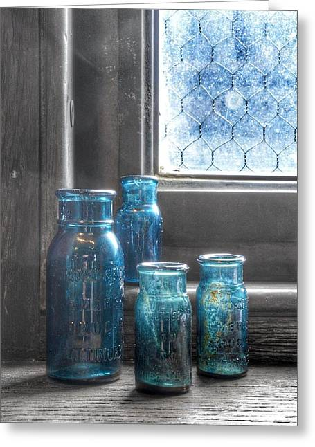 Bromo Seltzer Vintage Glass Bottles Greeting Card