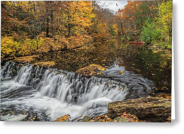 Bronx River Waterfall Greeting Card by June Marie Sobrito