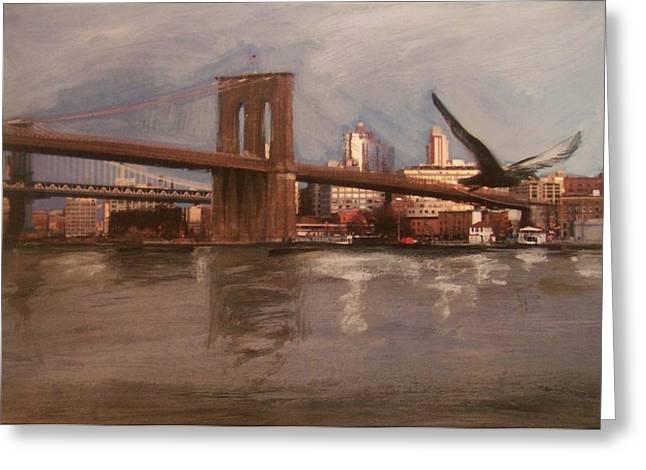 Brooklyn Bridge Greeting Card by Anita Burgermeister