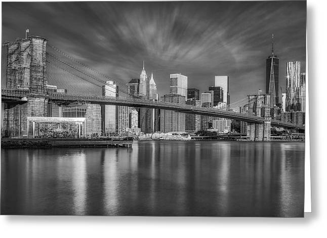 Brooklyn Bridge From Dumbo Greeting Card by Susan Candelario