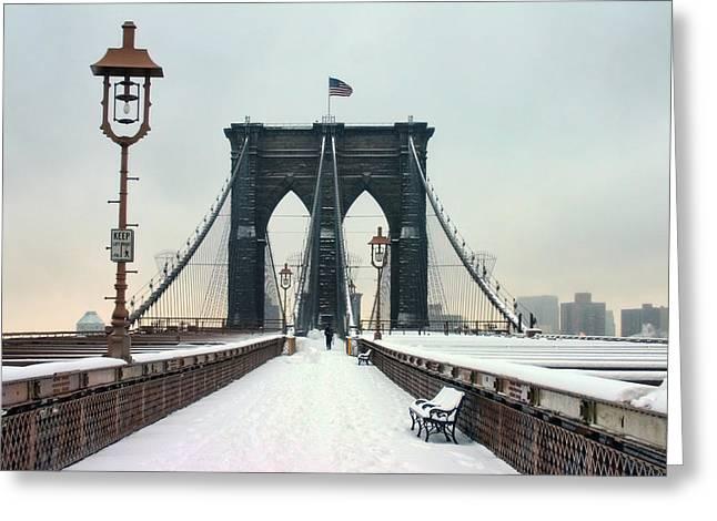 Brooklyn Bridge Greeting Card by June Marie Sobrito