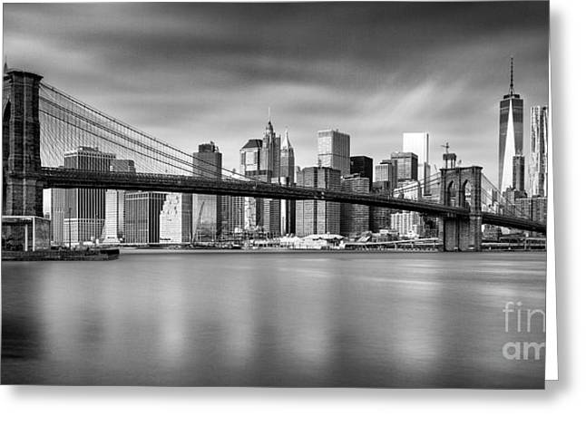 Brooklyn Bridge Panorama Greeting Card by John Farnan