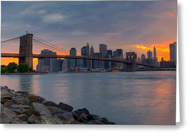 Brooklyn Sunset Greeting Card by David Hahn