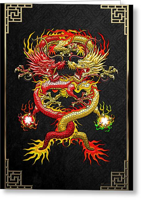 Brotherhood Of The Snake - The Red And The Yellow Dragons Greeting Card by Serge Averbukh