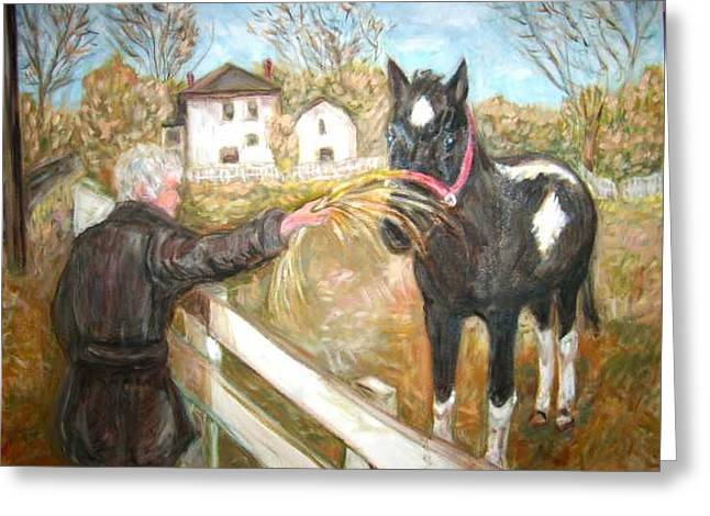 Brown And White Horse Greeting Card by Joseph Sandora Jr